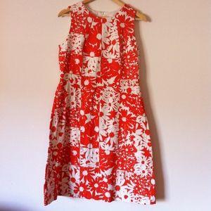 Anne Klein Orange and White Floral Print Dress